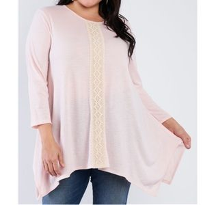 Janette Plus Light Pink Sharkbite Tunic with Lace